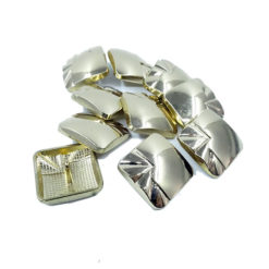 square button with silver metal pattern